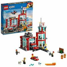 Lego City Fire Station 60215 Fire Rescue Tower Building Set With Emergency Vehicle Toys Includes Firefighter Minifigures For Creative Play 509 Pieces Lego City Fire Station, Lego Station, Station Fire, Tower Building, Lego Building, Lego City Sets, Lego Sets, Lego Technic, Lego Super Mario
