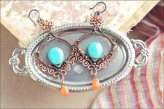 Wire wrapped copper gypsy dangle  turquoise  and by SabiKrabi, $59.00