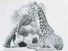 A sweet graphite drawing of a young elephant and young giraffe - just wonderful!