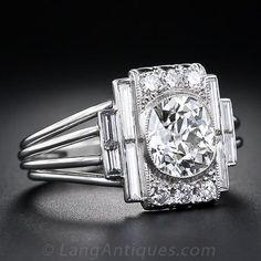 1.60 Carat Art Deco Diamond Engagement Ring - 10-1-4992 - Lang Antiques