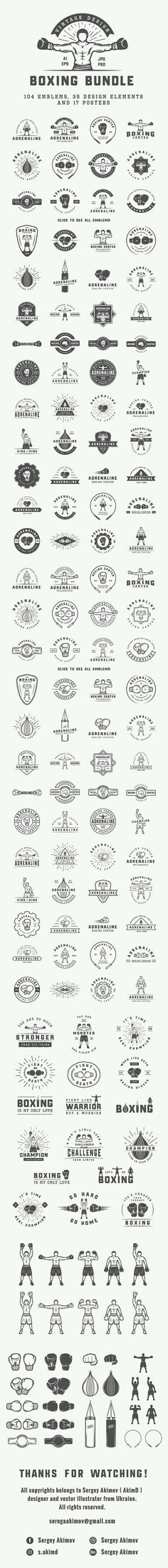 Vintage Boxing Bundle. Logo Templates