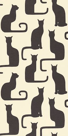 Sanderson Omega Cats were adapted from a 1930s textile by Swedish designer, Victor Lindstrand.     I am a cat lady... but striking for a Swedish style wall hanging.