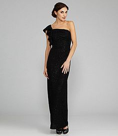 Hailey by Adrianna Papell Ruffled GlitterDot Jersey Gown #Dillards