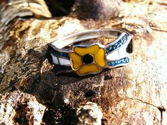 Sterling Silver Inlay & Enamel Ring by GoldiesNaturalGems on Etsy, $25.00 #teamlove  #fashion #jewelry