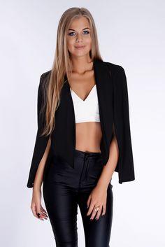 Dominique Black Cape Blazer - In The Style