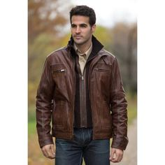 $469, Dark Brown Leather Bomber Jacket: Overland Sheepskin Co. Memphis Lambskin Leather Bomber Jacket. Sold by Overland Sheepskin Co.. Click for more info: https://lookastic.com/men/shop_items/97959/redirect