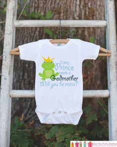 Will You Be My Godmother Outfit - Newborn Baby Boy Bodysuit - Every Prince Needs a Godmother Onepiece - Godchild and Godparent Keepsake