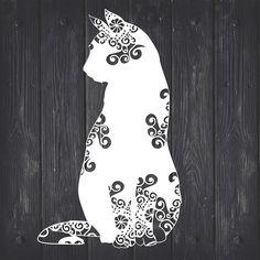 Cat Mandala, Mandala Design, Zentangle, Small Business License, Cat Silhouette, Silhouette Studio, Svg Files For Cricut, Paper Cutting, Vinyl Cutting