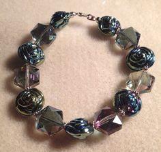 Glass rose bracelet  by azCreationsByAlyssa on Etsy