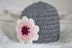 0-6 month Gray Pink Floral Beanie crochet by EdibleThoughts on Etsy, $13.00
