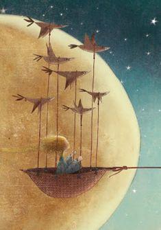 """Manuela Adreani, illustration for """"The Little Prince"""". So, so lovely. I adore… Art And Illustration, Fantasy Kunst, Fantasy Art, Arte Obscura, Moon Art, Whimsical Art, Surreal Art, Cute Art, Illustrators"""