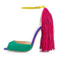 04e4125c64e80b AIWEIYi Womens High Heel Sandal Fringe Decoration Peep Toe Ankle Strap  Strappy Sandals    For