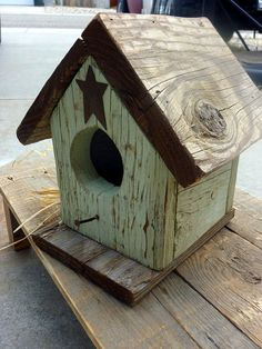 Rustic Green Reclaimed Wood Birdhouse by SoPurdyCreations on Etsy. Adorable reclaimed wood rustic birdhouse with a distressed sage green color on the main body and natural roof and base to show off the origianl texture and knots of the wood, truly OOAK!