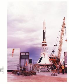 Preparations are made for an Apollo Launch Escape System (LES) test atop a Little Joe II at #WhiteSandsMissileRange