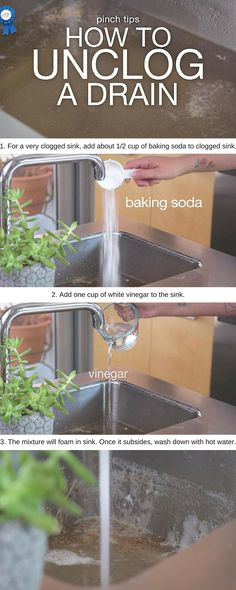 Unclogging a drain has never been easier thanks to this tip from the Just A Pinch Test Kitchen!