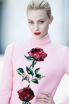 Sarah Gadon on the cover of Fashion Canada wearing makeup by Giorgio Armani: On skin, Maestro Fusion and Fluid Sheer; On eyes, eye tint; and on lips, Rouge Ecstasy.