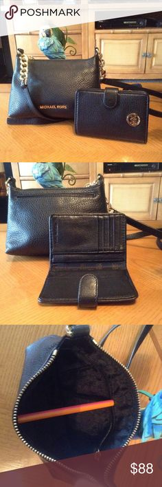 """Michael Kors Leather Crossbody/Wallet Beautiful black pebble leather crossbody with matching wallet. Both in excellent condition from smoke free home. Bag measures 8"""" x 6"""" x 2-1/2"""" and has 1 outside pocket that secures with magnet snap. Also has a slip pocket, zip pocket and card slot inside.  Wallet folds to 5-1/2 x 4"""" and has 4 compartments for cash/papers and 5 card slots. Leather is soft and rich on both. Selling as set only. Michael Kors Bags Crossbody Bags"""