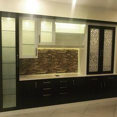#crockery #pooja #designcladding #stonecladding #interiordesign #interior Pooja Room Door Design, Dining Room Design, Home Decor Kitchen, Interior Design Kitchen, Crockery Cabinet, Crockery Units, Small Modern Kitchens, Kitchen Modular, Living Room Tv Unit Designs