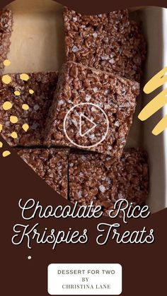 Cereal Treats, Rice Krispie Treats, Easy Chocolate Desserts, Chocolate Recipes, Chocolate Rice Krispies, Basic Butter Cookies Recipe, Small Batch Baking, Drink Recipe Book, Finger Food Appetizers