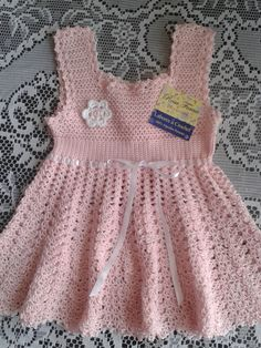 #Crochet Vestidito Niña, $35 en http://www.rosafornocollection.com Clothing and accessories exclusive handmade crochet technique for your baby with the highest Peruvian cotton. Made with love for your baby.