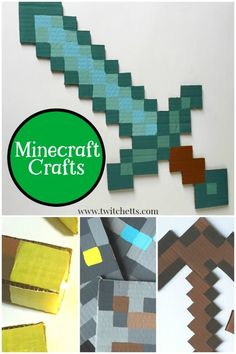DIY Minecraft Crafts ~ How to make Swords, Torches, Pickaxes, and More! - Minecraft World Minecraft Pinata, Minecraft Sword, Minecraft Birthday Party, Minecraft Crafts, Birthday Diy, Minecraft Skins, Diy Minecraft Decorations, Minecraft Ideas, Diy Gifts For Kids