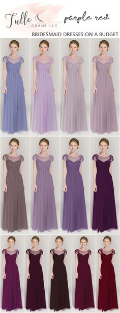 shades of purple long bridesmaid dresses for 2017