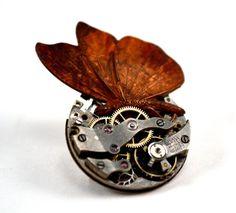 Steampunk Butterly Brooch Steampunk Butterfly Pin by Chanchala, $34.00