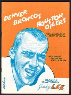 Up for auction June 8th..1964 Denver Broncos vs. Houston Oilers AFL Football Program (Jacky Lee on cover) #AFL