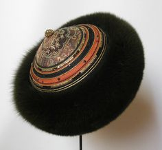 Pelshat / Pelshue. Fur hat, Model Tartar, in fox with handembroidered top on Jean-Paul Gaultier silk brocade. Handmade by Jane Eberlein, Samarkand, Copenhagen, Denmark. www.samarkand.dk