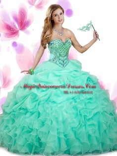 259f9017b63 Apple Green Ball Gowns Organza Sweetheart Sleeveless Beading and Ruffles  and Pick Ups Floor Length Lace Up Birthday Dress