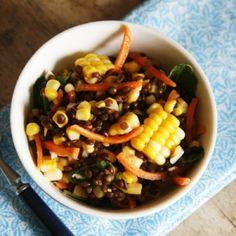 Lemon Garlic Corn and Black Lentil Salad #freshcorn #client