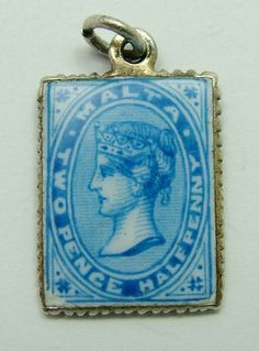 1920s silver gilt and enamel charm of a Victorian Maltese stamp, very nicely enamelled - 28gbp