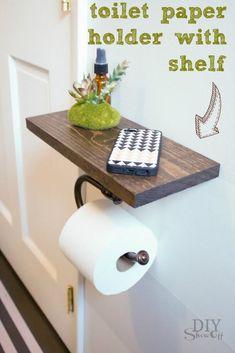 DIY toilet paper holder with stained wood shelf provides space. DIY toilet paper holder with stained wood shelf provides space. Diy Bathroom Remodel, Diy Bathroom Decor, Budget Bathroom, Bathroom Storage, Bathroom Remodeling, Bathroom Organization, Bathroom Mirrors, Bathroom Closet, Bathroom Tiling
