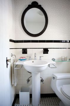 Interior, Remarkable Eclectic Bathroom Ideas Also Classic Washing Stand Design Combine With Mod White Toilet Design Also Black And White Tiling Theme Also Classic Elips Mirror With Black Frame Also Classic Faucet Design: Inspirational Home Looks to Apply 1930s Bathroom, Art Deco Bathroom, Eclectic Bathroom, Old Bathrooms, Vintage Bathrooms, White Bathroom, Bathroom Ideas, Family Bathroom, Small Bathroom