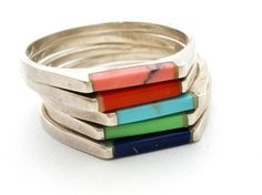 Sterling Silver Gemstone Stacking Ring Turquoise Lapis Coral Size 8 Vintage  #SE #Stackable