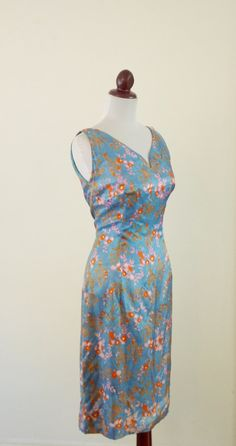 Vintage 1950s Blue Silk Floral Wiggle Dress by RetroKittenVintage, $65.00