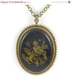 $25 - sale - Etsy - aquarius necklace - very antique style