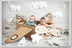 DIY Cardboard Airplane merge this and the one for sale, viola! Lillian is going to be Amelia Earhart for halloween next year, or maybe the year after Cardboard Airplane, Diy Cardboard, Airplane Photography, Photography Backdrops, Planes Birthday, Accessoires Photo, Airplane Party, Airplane Crafts, Foto Baby