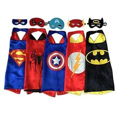 Generic Superhero Dress Up Costumes - 5 Satin Capes and 5 Felt Masks Kids Childrens Halloween Costume Superhero Dress Up, Superhero Halloween Costumes, Superhero Capes, Halloween Kostüm, Halloween Cartoons, Capes For Kids, Mask For Kids, Masks Kids, Thing 1