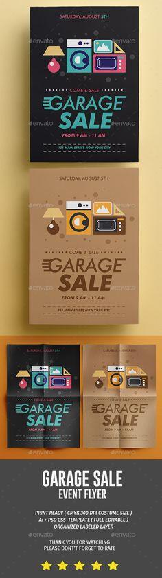 Garage Sale Flyer by tokosatsu Neighborhood Garage Sale, Flyer Printing, Psd Flyer Templates, Sale Flyer, Promote Your Business, Flyer Design, Banner, Graphic Design, Leaflet Printing