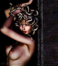 'Medusa Seduction' by El Crellin. Medusa Snake, Medusa Gorgon, Medusa Hair, Medusa Tattoo, Female Monster, Skin And Bones, Landsknecht, New Gods, Chicano Art