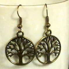 Handmade Antiqued Brass Steampunk Victorian New Age Tree of Life Earrings #CascadeJewelry #DropDangle