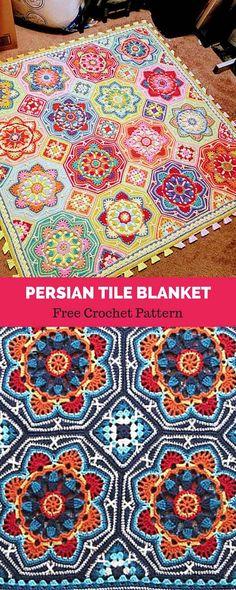 persian tile blanket free crochet pattern - The world's most private search engine Crochet Afghans, Crochet Motifs, Crochet Granny, Easy Crochet, Crochet Stitches, Knit Crochet, Mandala Crochet, Beginner Crochet, Crochet Quilt
