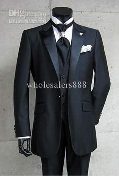 Brand New Groom Tuxedos Black Best Man Peak Satin Lapel Groomsmen Men Wedding Suits Prom/Formals/Bridegroom Suit (Jacket+Pants+Tie+Vest) J30