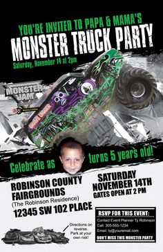Monster Truck Jam You Print Birthday Invitation by DazzelPrintz