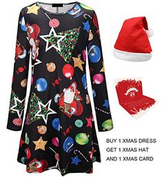 dfb8e1e68cc2 Enjoy exclusive for Youthwell Christmas Dress, Women Santa Claus Print Long  Sleeve Pullover A Line Swing Dress online - Newforbuy