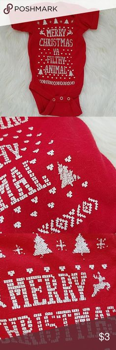 christmas onesie Short sleeve red onesie with white fair isle style print. Says merry Christmas ya filthy animal. Super cute. Re-posh. Looks worn, but my baby was too big and never fit into it. Look at pictures for wear. Priced accordingly.  Newborn size. One Pieces Bodysuits