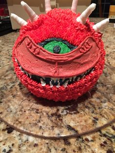 Blast from the past: remember the video game Doom? Great memories with those cute cacodemons. Now in cake form: red velvet cake with vanilla buttercream!