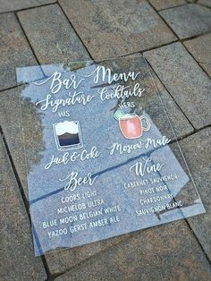 Your place to buy and sell all things handmade Our beautiful shatter-proof and glare proof acrylic wedding signs are each painted by hand. Perfect Wedding, Fall Wedding, Diy Wedding, Dream Wedding, Trendy Wedding, Wedding Photos, Reception Signs, Wedding Signage, Wedding Bar Menu