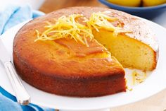 Lemon Yoghurt cake  with syrup. The use of yoghurt in this recipe makes for a fluffier baked cake.
